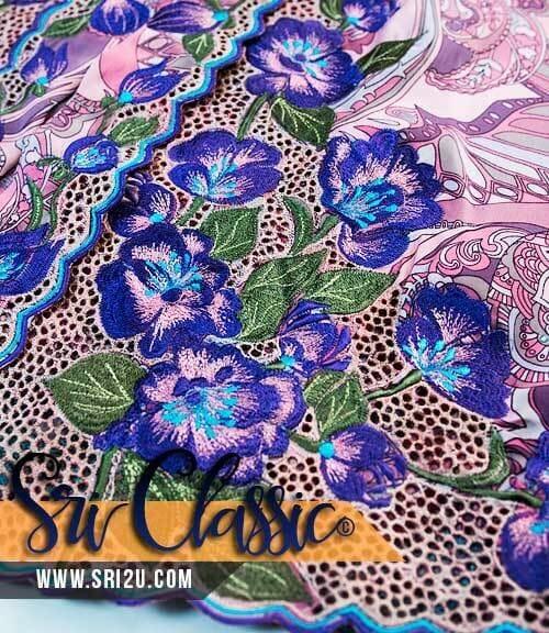 Baju Kebaya Sulam Kerawang Corak Bunga-Bungaan