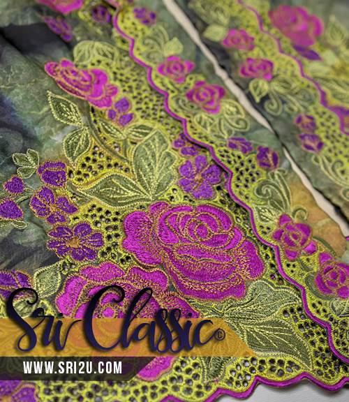 Baju Kebaya Tradisional Sulam Bunga Ros Dengan Kerawang Buih - Koleksi Baju Kebaya 2018
