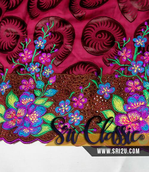 Baju Kebaya Riau Pahang Corak Sulam Bunga Ros Jepun dan Sakura