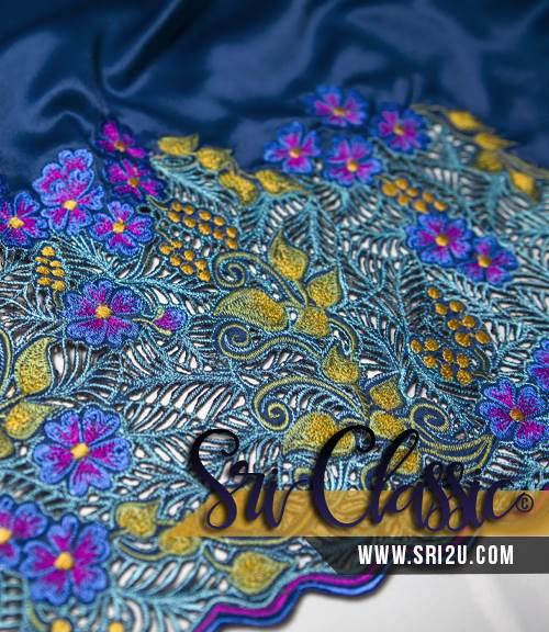 Baju Kurung Teluk Belanga Tradisional Sulam Kerawang - Bunga Sakura Kerawang Daun