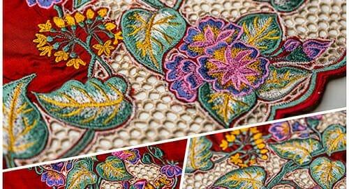 Tempahan Sulam Kerawang Baju Kurung Moden Corak Bunga Seri Pagi dan Kesidang