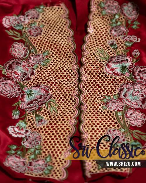 Tempahan Sulam Baju Kurung Pahang Motif Bunga Carnation Kerawang Sarang Tebuan